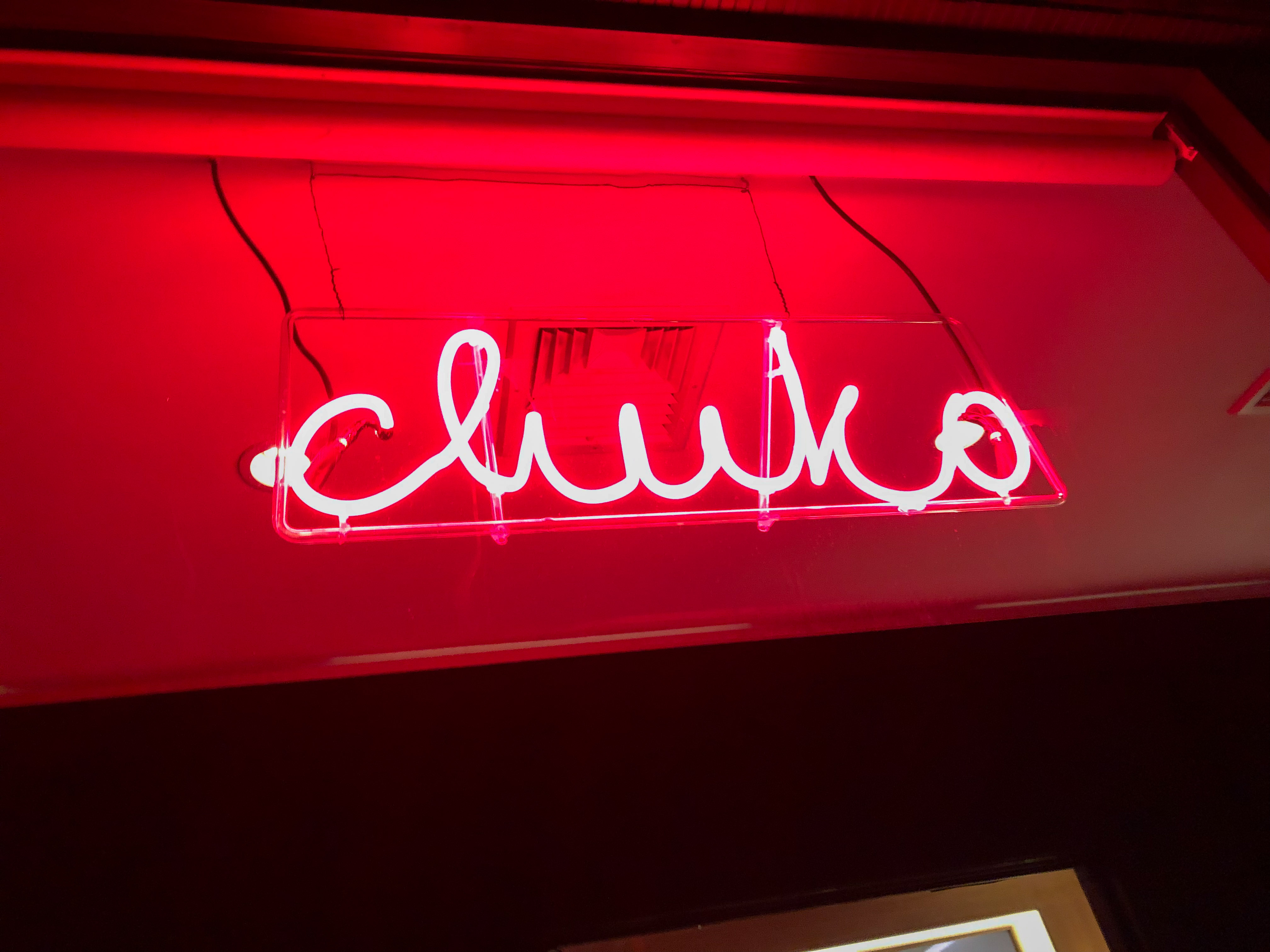 Neon sign outside of chuko