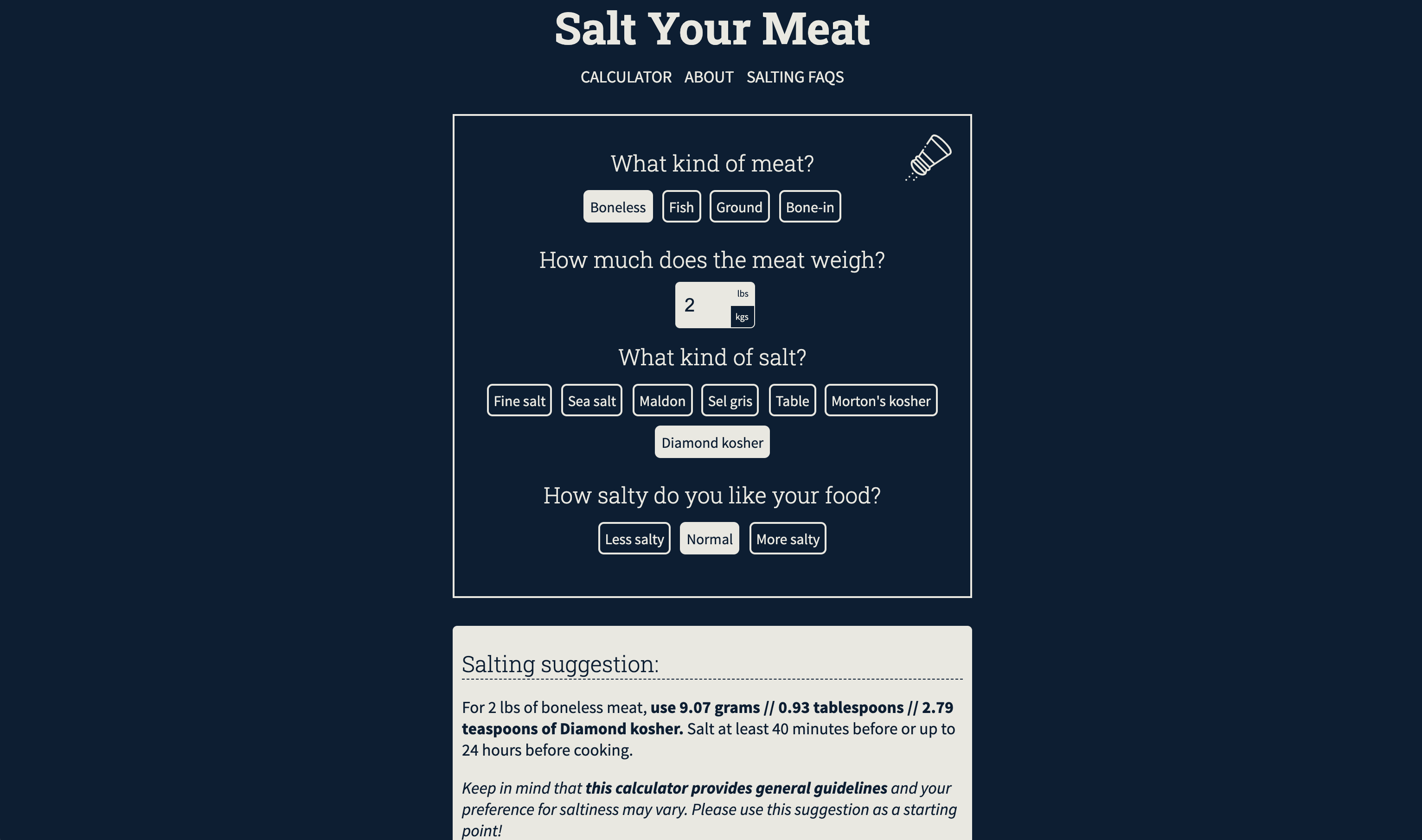 A screenshot of saltyourmeat.com that shows the logo, calculator, and salting instructions.